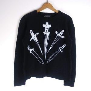Rag & Bone Dagger Sweater Wool Blend, Black, XL